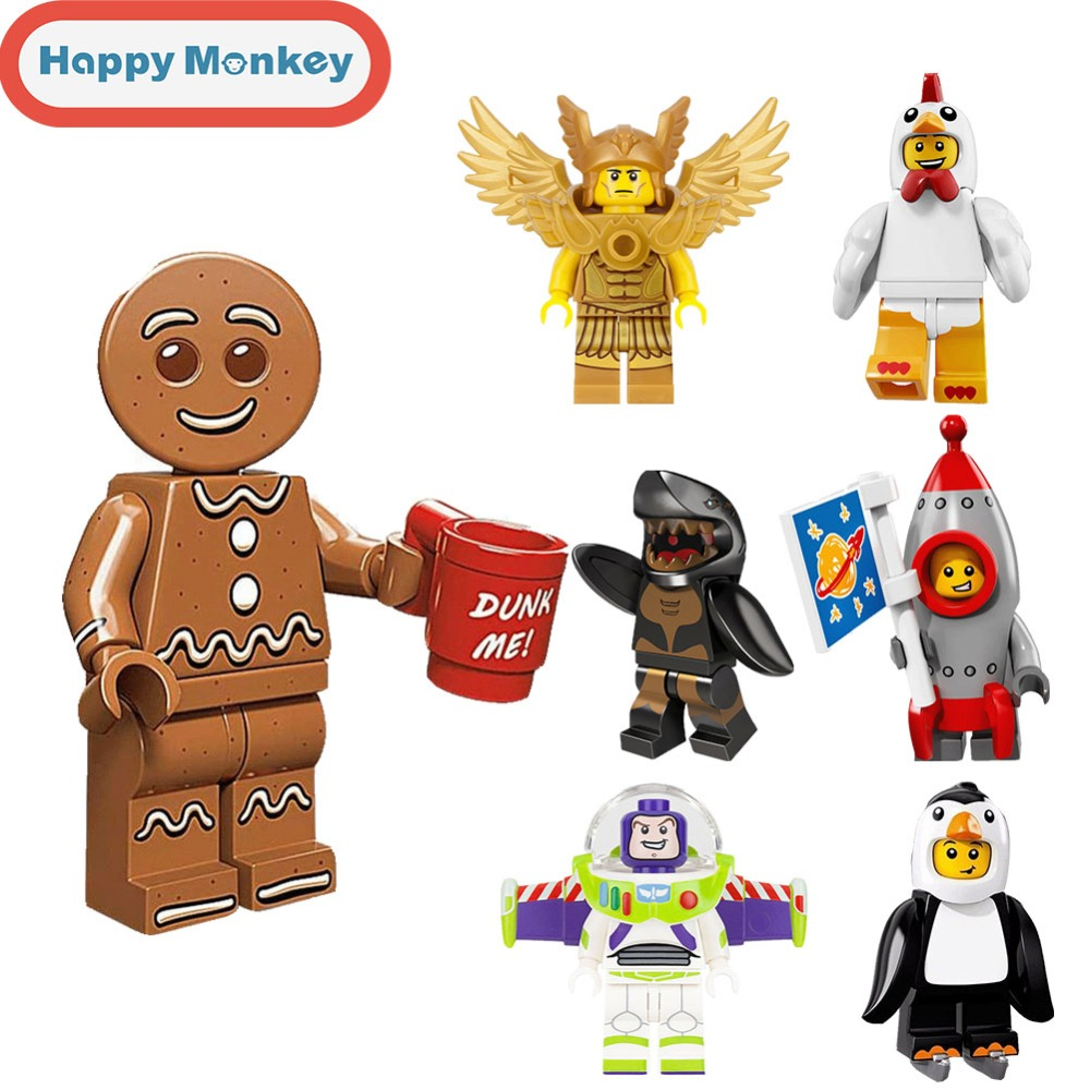 For Children DIY Educational Toys Legoinglys Ninjagoly Building Blocks Banana Guy Master Wu Gingerbread Man Bricks Figures Zk35