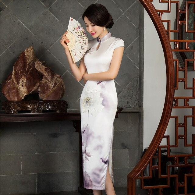 Ventes chaudes Moderne Chinois Qipao Robes Blanc Chinois Robe Qipao  Traditionnelle Chinoise Longue Robe Femmes 770a0fd93cd9