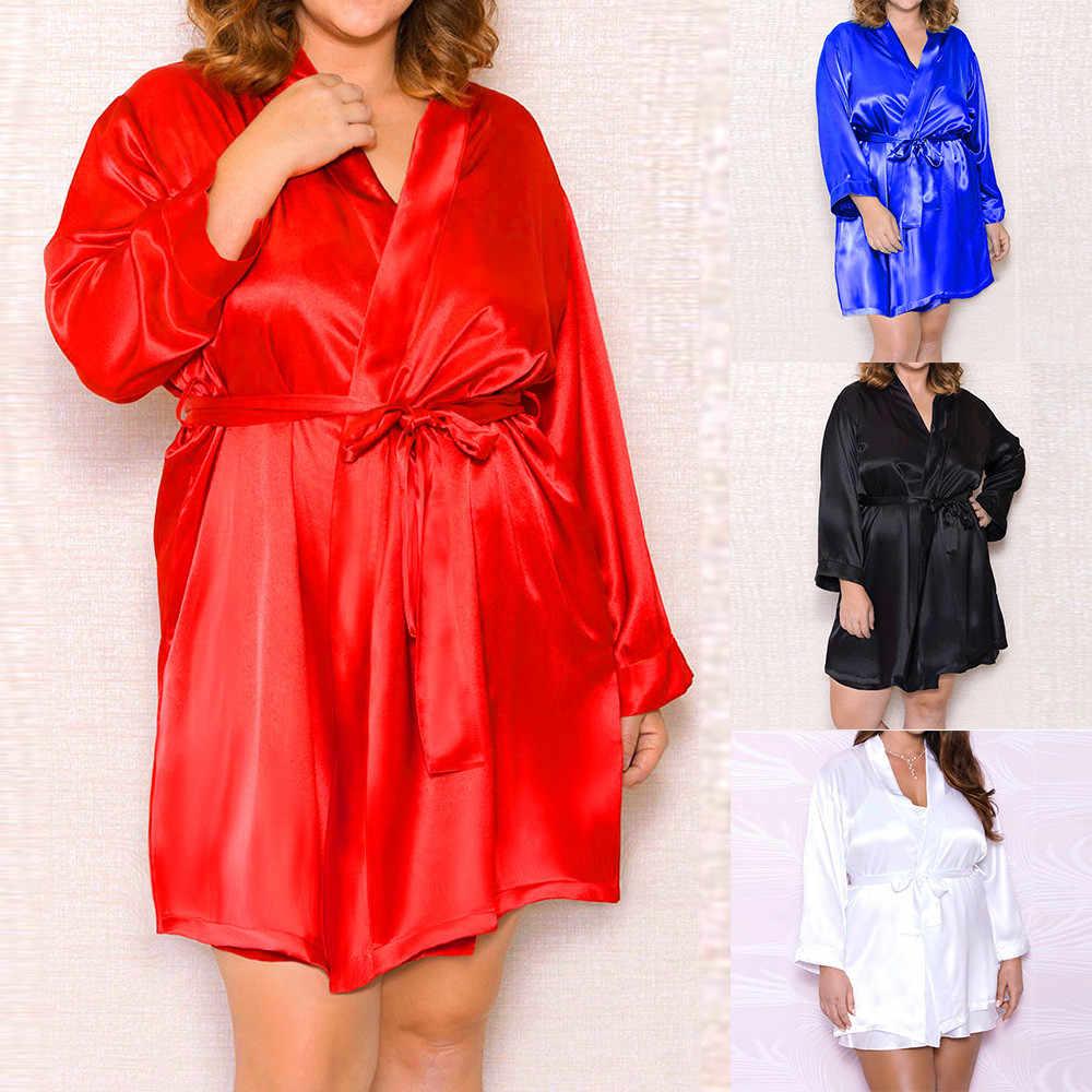 188d140751dce Hot Sexy Lingerie Women Plus Size Silk Lace Robe Dress Babydoll Nightdress  Nightgown Sleepwear9.6