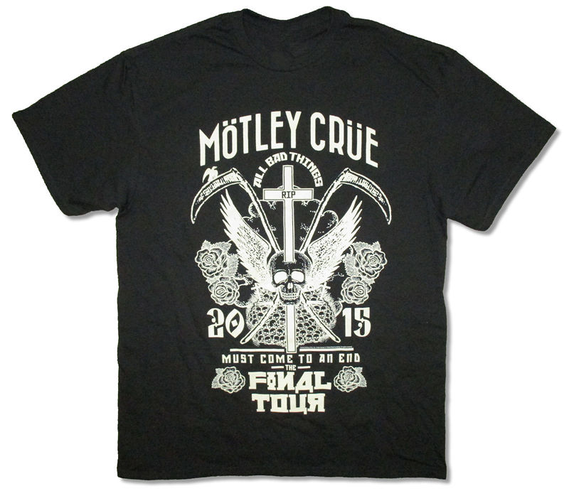Cheap Graphic T Shirts Short O-Neck Best Friend Mens Motley Crue R.I.P. All Bad Things Tour 2015 Shirts