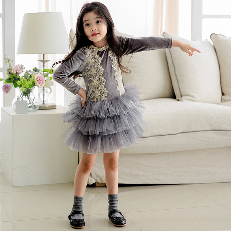 Kids Dress 2018 Spring Girls Lace Dresses Long Sleeve Princess Luxury Dress For Girls Party Toddler Children's Clothes DS 74