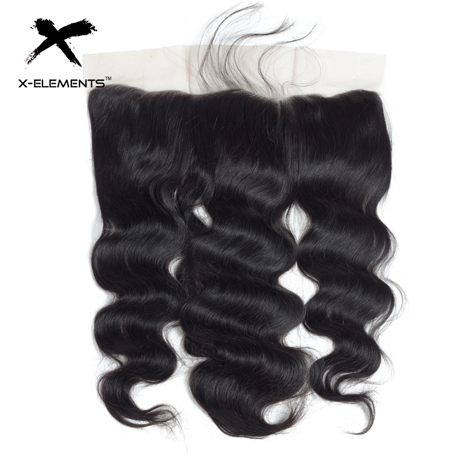 X-Elements Hair Body Wave 13 * 4 Spets Frontal With Baby Hair - Mänskligt hår (svart) - Foto 1