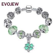 03023b11ed63 2018 nueva moda 925 pulsera de plata cristal verde trébol perlas encanto  pulsera y brazaletes para las mujeres DIY joyería regal.