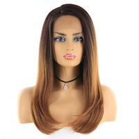 X TRESS Ombre Brown Blonde Color 24'' Straight Synthetic Hair Wigs For Black Women Swiss Lace Front Cosplay Wig Free Middle Part