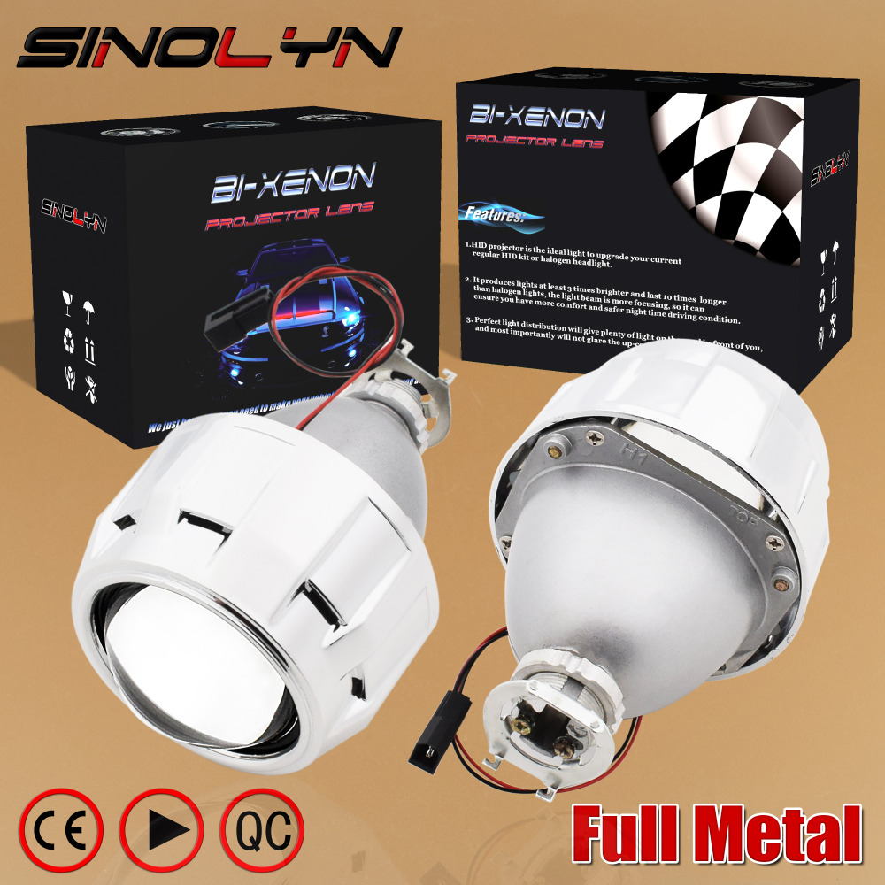 SINOLYN Upgrade Metal 2.5 Pro HID Bi xenon Projector Headlight Lens H4 H7 Use H1 Bulb Car Styling Headlamp Lenses Retrofit DIY royalin car styling hid h1 bi xenon headlight projector lens 3 0 inch full metal w 360 devil eyes red blue for h4 h7 auto light