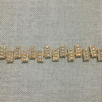 10Yards AB Crystal Golden Silver Rose Golden Applique Bridal Belt Handmade Rhinestone Trim For Wedding Dress