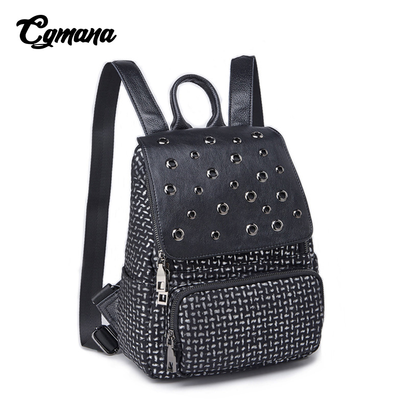 CGMANA Brand Backpack Women 2018 Retro Fashion Korean Rivet School Bag For Teenage Girl Travel