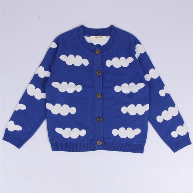 New Kids Boys And Girls Warm Clothing Baby Child Cardigan 100% Cotton Knitted Sweater Clouds Pattern Long Sleeve Tops Coat