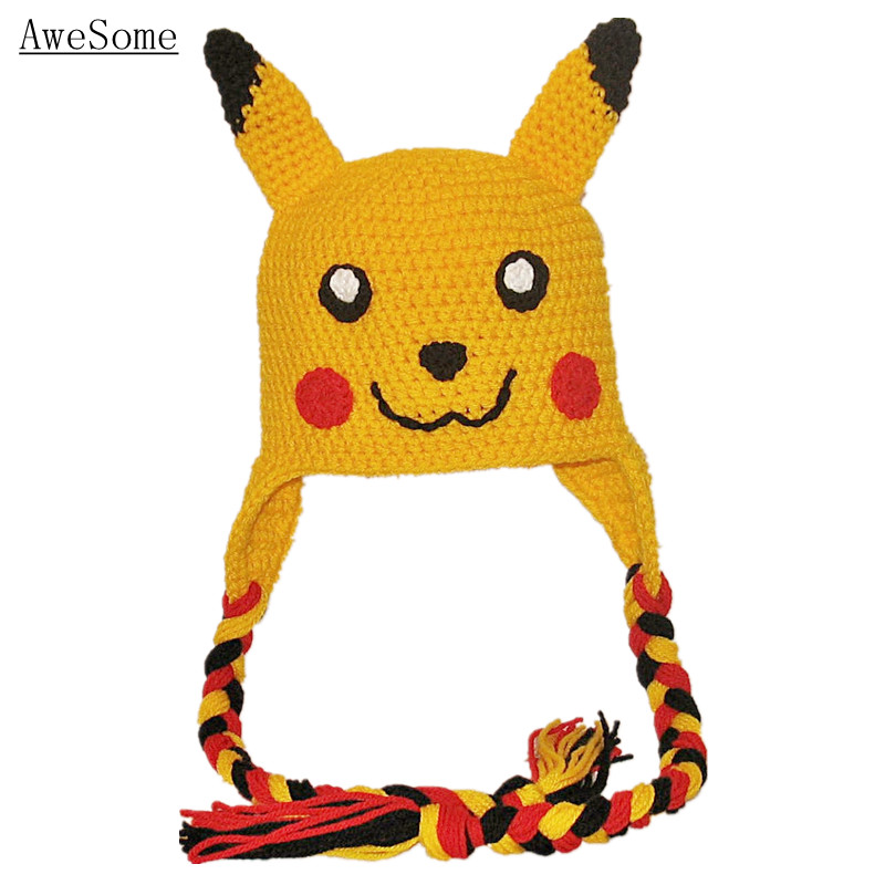 New Handmade Knit Crochet Baby Child Hat Newborn Photo Prop Pokemon Pikachu Hat