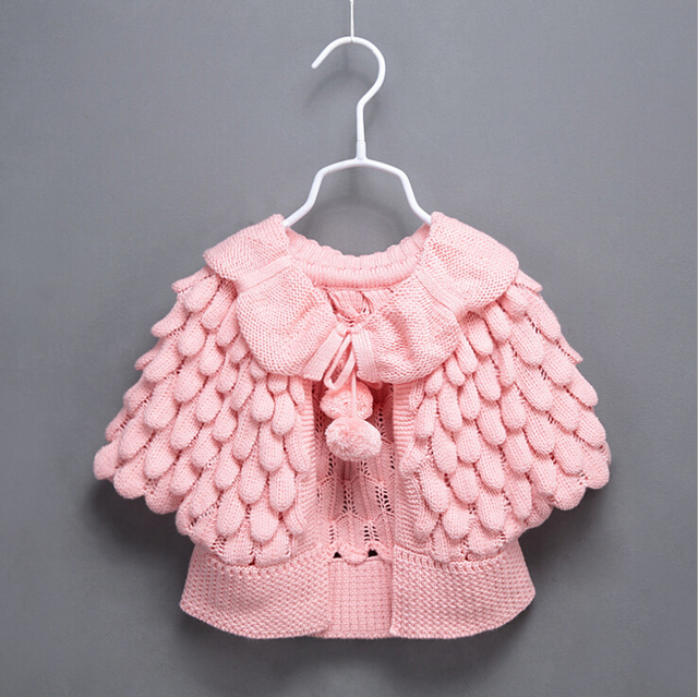 Kids Girls Knit puff cardigan baby girl Batwing poncho babies Fall Winter outwear knit sweaters children's clothes