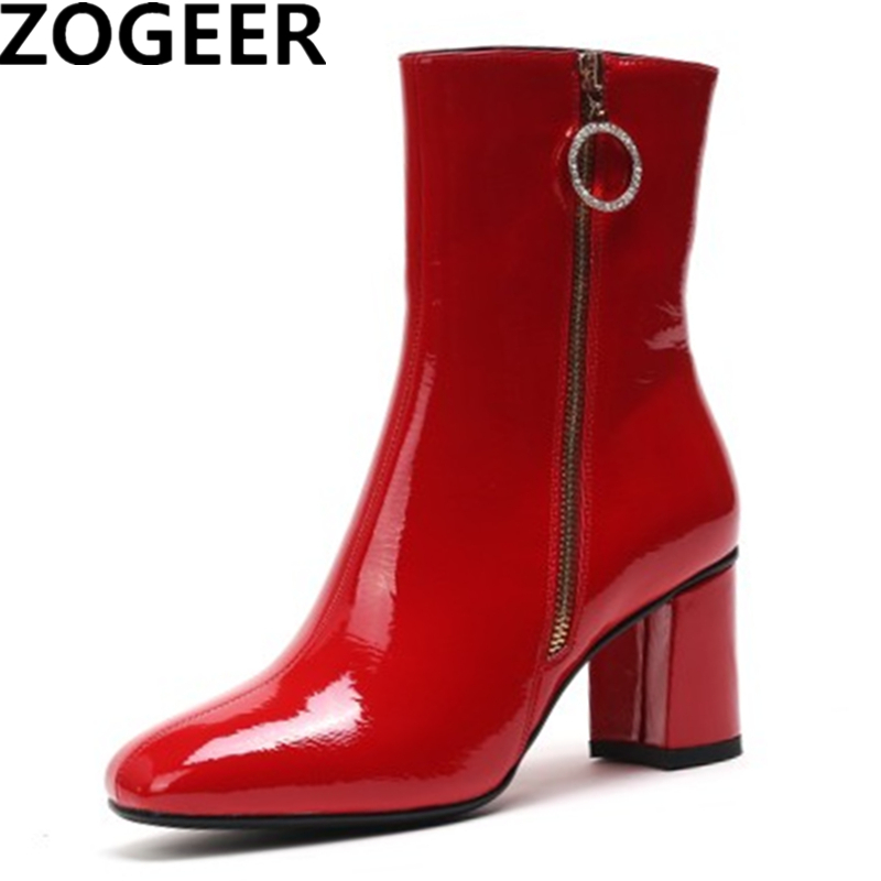 Brand 2019 Winter Ankle Boots For Women Fashion Square High Heels Sexy Snow Boots Black Red