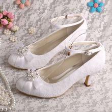 Wedopus New Arrival White Lace Pearl and Rhinestone Low Heel Bridal Wedding Shoes