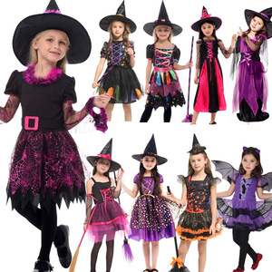 Image 5 - 2019 New Witch Suit Cosplay Halloween Party Children Costume For Girls Halloween Clothing Set Witch Dress Hat cloak Accessories