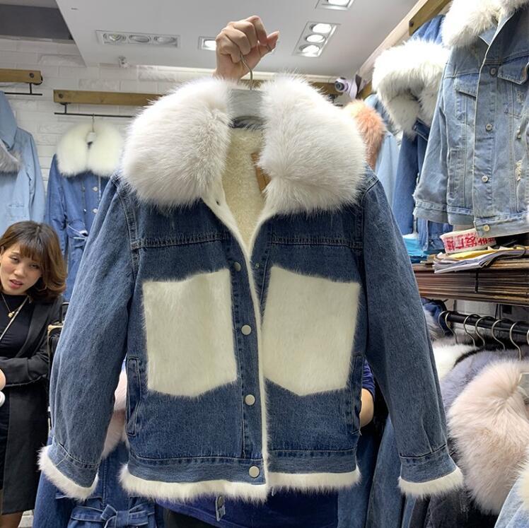 Femmes 2019 Agneau Grand Vêtements Coton Col Court Nouvelle Européenne Couture Denim Hiver Fourrure Manteau Station rose Marée Gris De ivoire Vraiment qax4Sn0