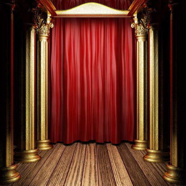 Red Curtains Gold Column Wood Floor Background Vinyl Cloth