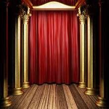 Cortinas de Ouro vermelho de madeira Coluna chão pano de Fundo de Vinil de Alta qualidade de impressão Computador pano de fundo da foto da parede