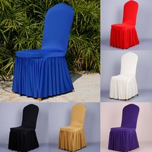 HOT Universal Polyester Spandex Folding Chair Flat Covers Pleated Pendulum Seat Cover Dining Room Wedding Party