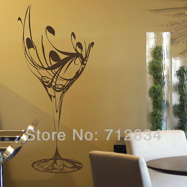 B z d free shipping wall 39 s matter home decor wine glass for Z home decor