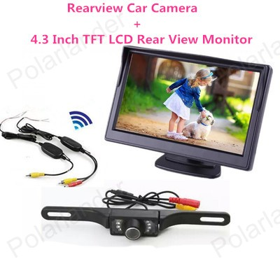 4.3 inch 480x234 Resolution TFT LCD Car Parking RearView Monitor With 2 Video Input Connect Rear car Camera