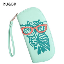 Rounded hit owl holders id korean printing clutch zipper wallets glasses