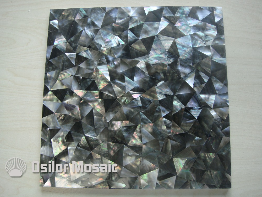 Natural black color triangle pattern 100% sea shell black mother of pearl tile for interior house decoration wall tile brick pattern 100% blacklip sea shell natural black color mother of pearl mosaic tile for interior house decoration wall tiles