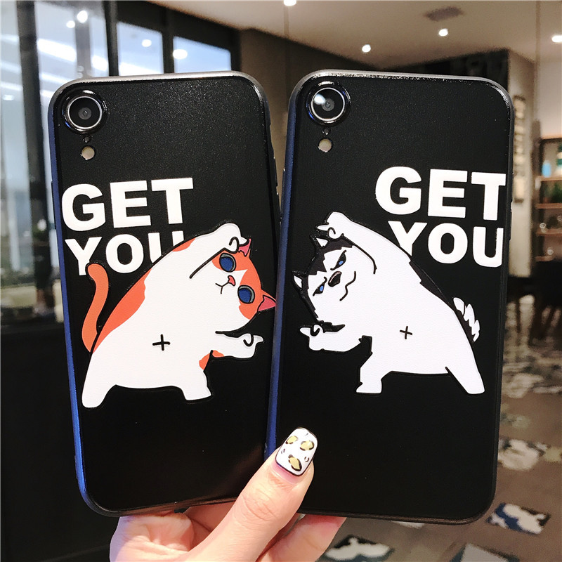 Funny Cartoon Cat Dog Print Case For iPhone Relief Back Cover iPhone Cases