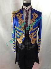 Blue Best Man Suits Groom Tuxedos Tailcoat Men's Gold embroidery LAPEL Suit Groomsman /Tailcoat Wedding/Prom Mag(Jacket+Pants)