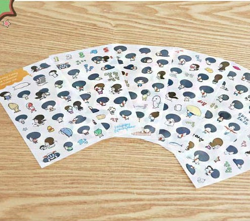6 sheets/1set cartoon girl Transparent diary deco Sticker post it note kawaii stickers/sticky notes/Decoration Label
