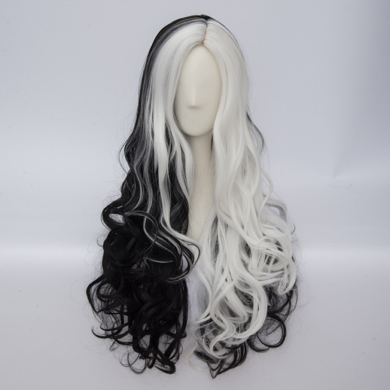 70cm Long Black Mixed White Curly Lolita Party Hair Cosplay Wig+wig Cap Heat Resistant Promoting Health And Curing Diseases