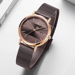 Image 4 - NAVIFORCE relojes para mujer, correa de acero inoxidable, de pulsera, de cuarzo, elegante, femenino