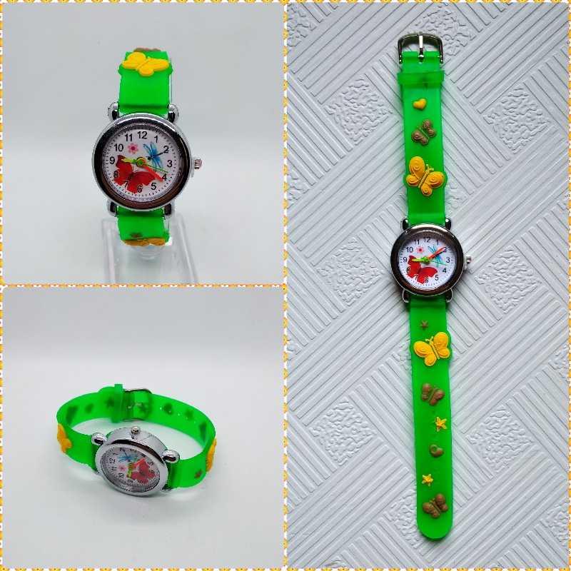 Mujer niñas belleza mariposa dial niños reloj de buena calidad vestido de silicona casual niños relojes pulsera niño reloj de regalo de bebé