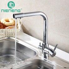 Nieneng смеситель для кухни столовой Бар вращения нажмите с очистки воды Особенности двойная ручка краны палубе смеситель прибор ICD60373
