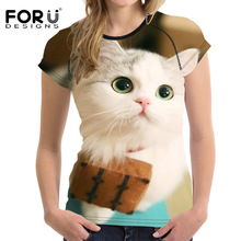 FORUDESIGNS White 3D Cat Women Summer t shirt Casual Short Sleeved Women Tops Crop O Neck Elastic Ladies T-shirt Tee Top Clothes