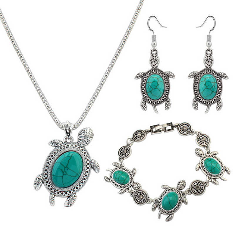 Wholesale Vintage Black Green Jewelry Set Fashion Women Jewelry Set Antique Red Color Turtle Round Stone Pendant Necklace Sets