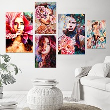 Graphic Art Bloom Nature Girl Modern Canvas Prints Poster Wall Painting Scroll Artwork Pictures Home Decor