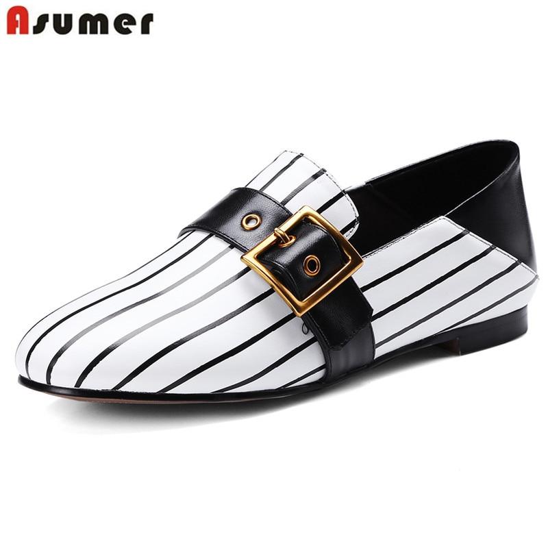 pelle donna vera in Asumer primavera bianco bianco 43 piatto nero punta 33 2019 estate appartamenti Stripe casual fibbia scarpe nero dimensione rotonda tE0Exqw