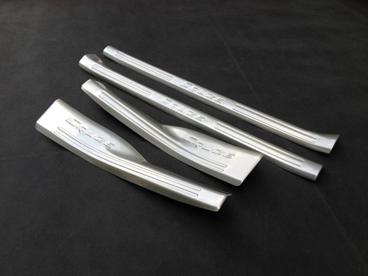 Auto parts For 2014 2015 Chevrolet Cruze Inner Door Sill Cover Stainless Steel Scuff Plate 4pcs/set Welcome Pedals Car styling for renault kadjar 2016 stainless steel inner door sill scuff plate strip trim welcome pedals car auto accesorios 4pcs set