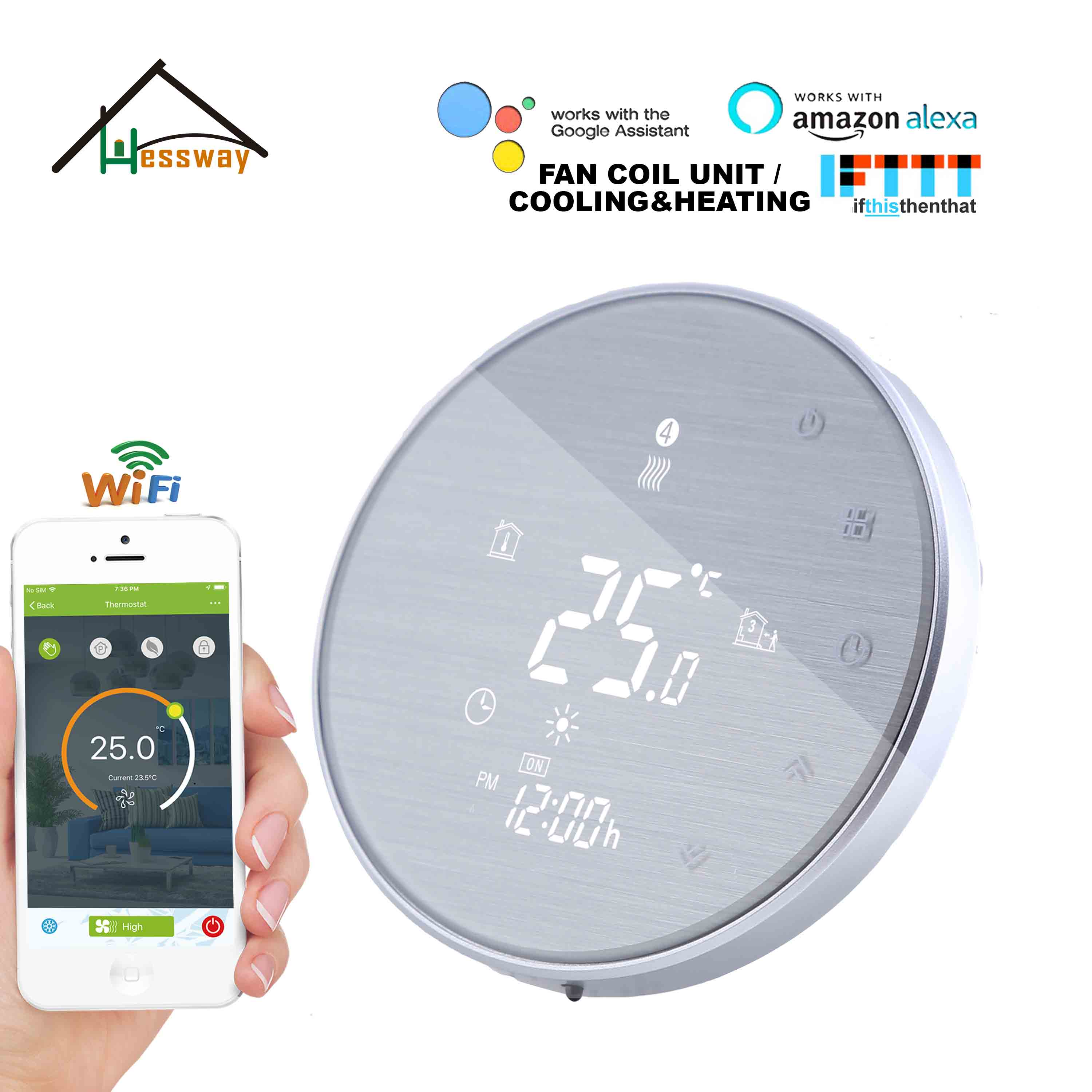 HESSWAY TUYA APP WIFI Thermostat Cooling Heating For Smart Google Home Wire Drawing