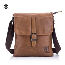 BULLCAPTAIN vintage Genuine Leather Mens Messenger bag cow leather shoulder for male fashion man crossbody Handbags