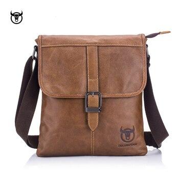 BULLCAPTAIN vintage Genuine Leather Men's Messenger bag cow leather shoulder bag for male fashion man crossbody bag Handbags Cross Body Bags