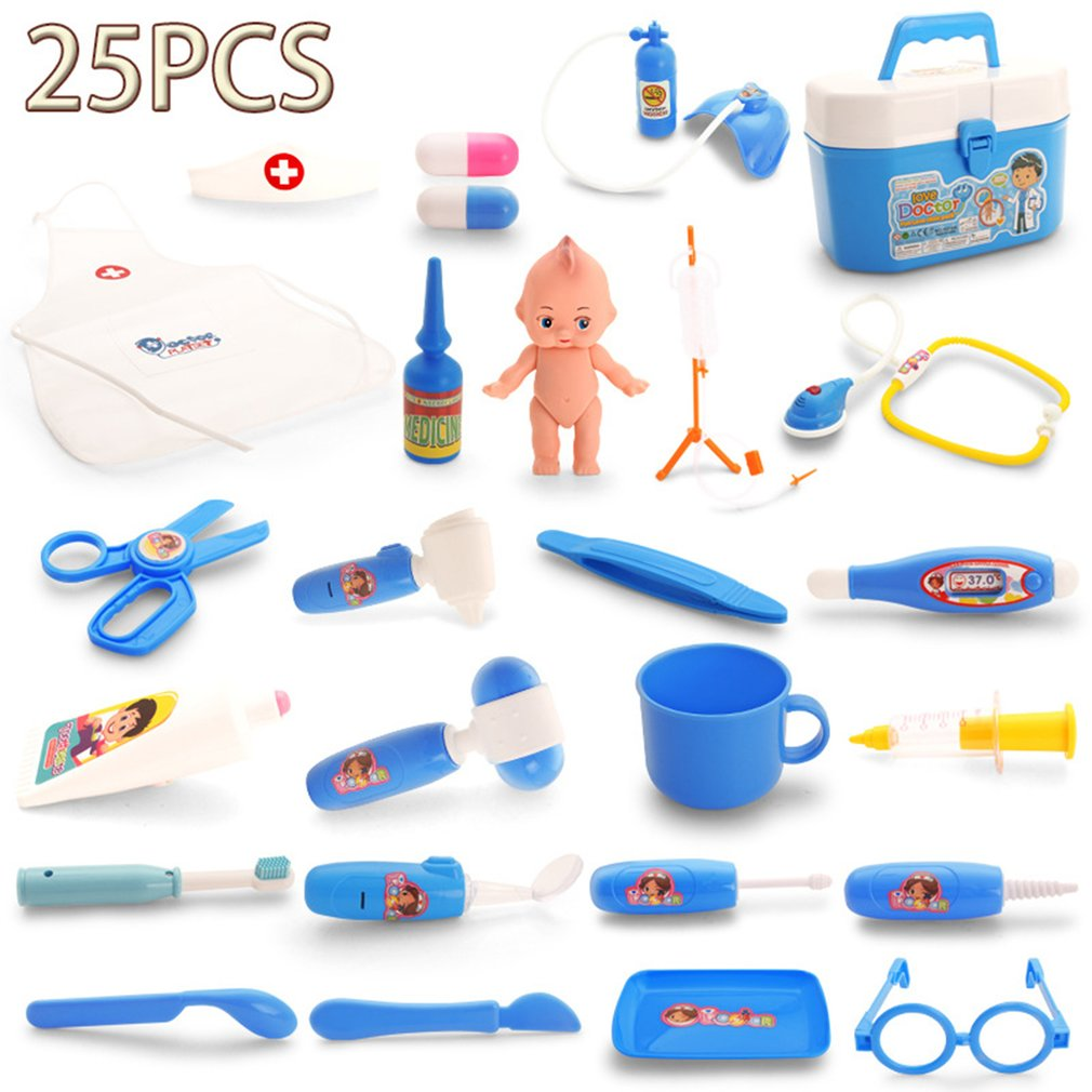 OCDAY 25pcs Doctor Play Toys Set Children Role Play Medical Kit Baby Educational Box Pretend Play Gift Simulation Hospital Toys