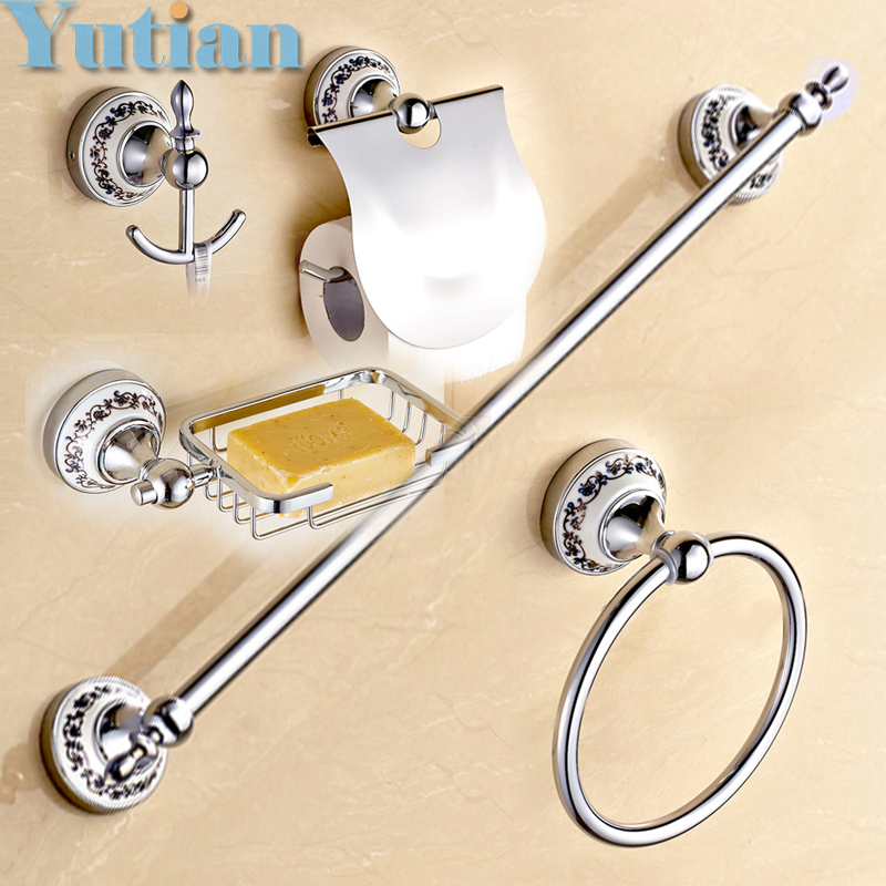 Free shipping,Stainless Steel + ceramic Bathroom Accessories ,Paper Holder,Towel Bar,Soap basket,bathroom sets, free shipping ba9105 bathroom accessories brass black bronze toilet paper holder
