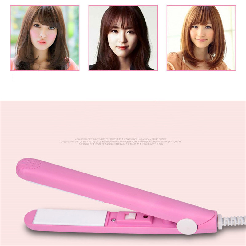 High quality mini iron straightener smooth pink ceramic curler styling tool hair styling plug EU drop shippping Dec18