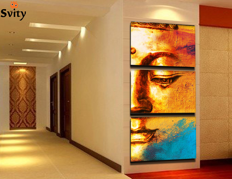 Free Shipping Gold Buddha Oil Painting Wall Art Paintings