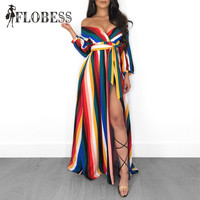2018 Autumn Women Fashion Rainbow Striped Print Maxi Dress Sexy V Neck High Slit Club Long Dresses Female Loose Vestidos