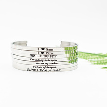 1PC Mantra Bangle Engraved I LOVE MAMA PAPAI AM REALLY A DRAGONEncouragement Stainless Steel Cuff