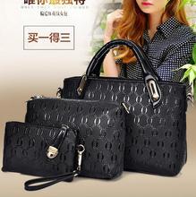 Brand luxury 3 sets bags handbag+shoulder bag top-handle bag leather design for women 2016