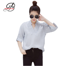 Borisovich 2017 Summer Fashion Sexy V-neck Striped Women Shirts High Quality Loose Comfortable Half Sleeved Blouse Female M613
