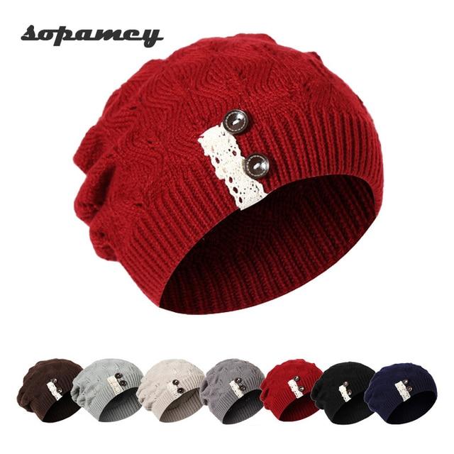 3e9da7e7a20 2017 The New Women Thick Caps Twist Pattern Women Knitted Sweater Hats Pom  Poms Winter Hat Cotton Beanies Cap Female Hat