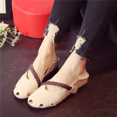 New lazy shoes round head hollowed out super soft woven with hope women's shoes students 23